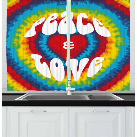 70s Party Curtains 2 Panels Set, Peace and Love Groovy Sixties Tie Dye Heart Shaped Abstract Hippie Rainbow Art, Window Drapes for Living Room Bedroom, 55W X 39L Inches, Multicolor, by Ambesonne](Tie Dye Room)