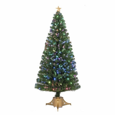 Jolly Workshop Fiber Optic 6' Green Artificial Christmas Tree with LED Muticolor Lights with Stand