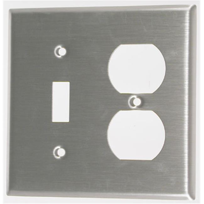 Leviton Double Gang Combination Toggle & Duplex Receptacle Wallplate 004-84005-0