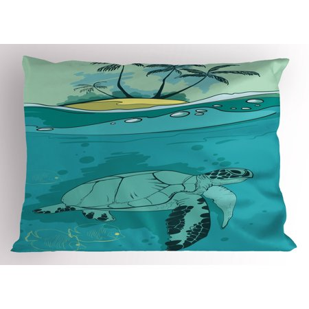 Ocean Pillow Sham Sea Turtle Swimming Coral Reef Exotic Island Underwater Life Illustration, Decorative Standard King Size Printed Pillowcase, 36 X 20 Inches, Turquoise Teal Green, by - Sea Turtle Pillow