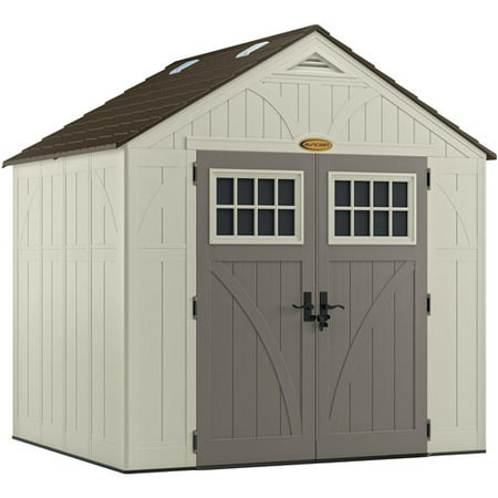Suncast 8'x7' Tremont® Storage Shed for Backyard, Vanilla, 378 cu. ft.