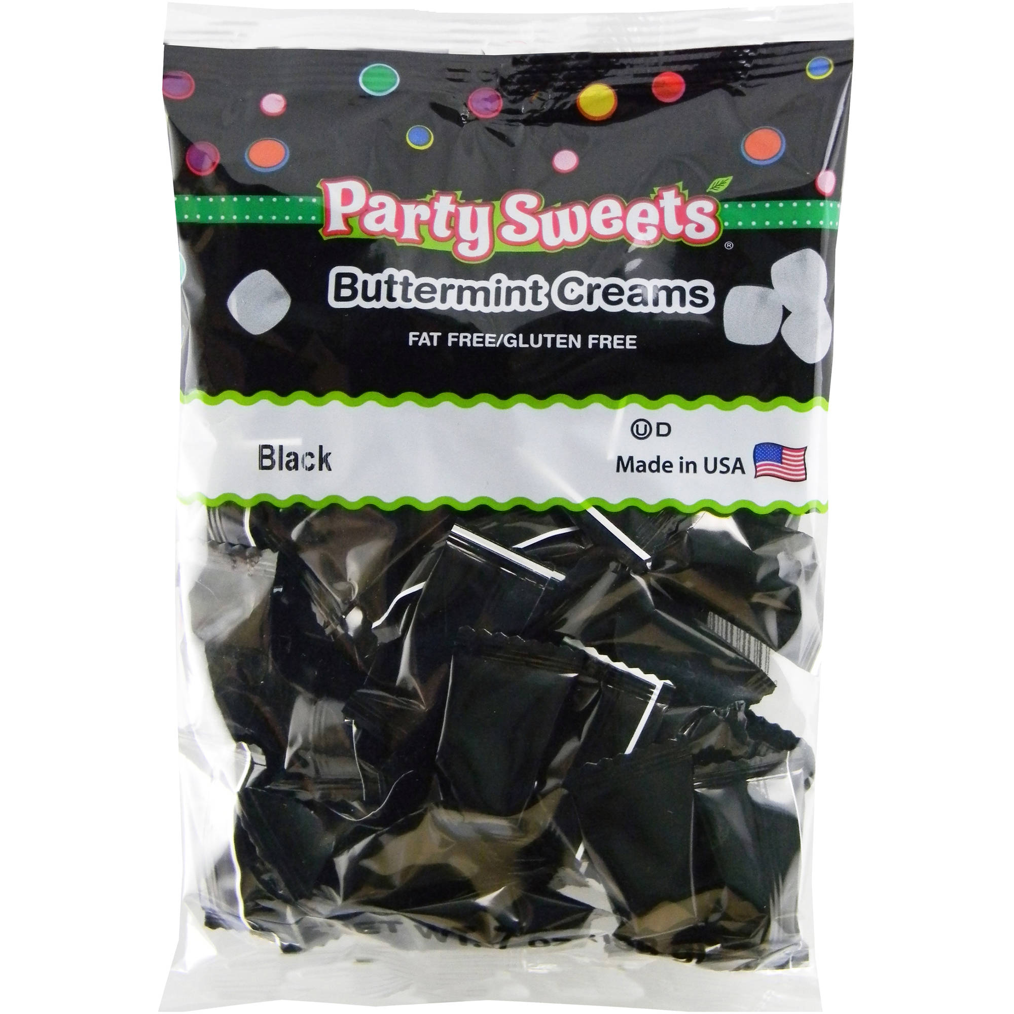 Party Sweets Black Buttermint Creams Candy, 7 oz