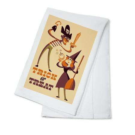Trick or Treat - Mom & Dad - Retro Halloween - Lantern Press Artwork (100% Cotton Kitchen - Diy Halloween Costumes For Mom And Dad