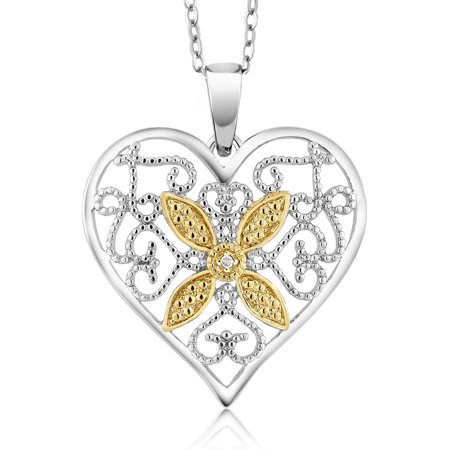 Gorgeous Accent Diamond Heart Pendant Necklace With 18 Inch Chain