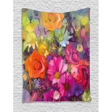 Home Accents Floral Tapestry - Floral Tapestry, Vibrant Flower Bouquet with Daisy Peony Gerbera Petals Romantic Arrangement Print, Wall Hanging for Bedroom Living Room Dorm Decor, Multicolor, by Ambesonne