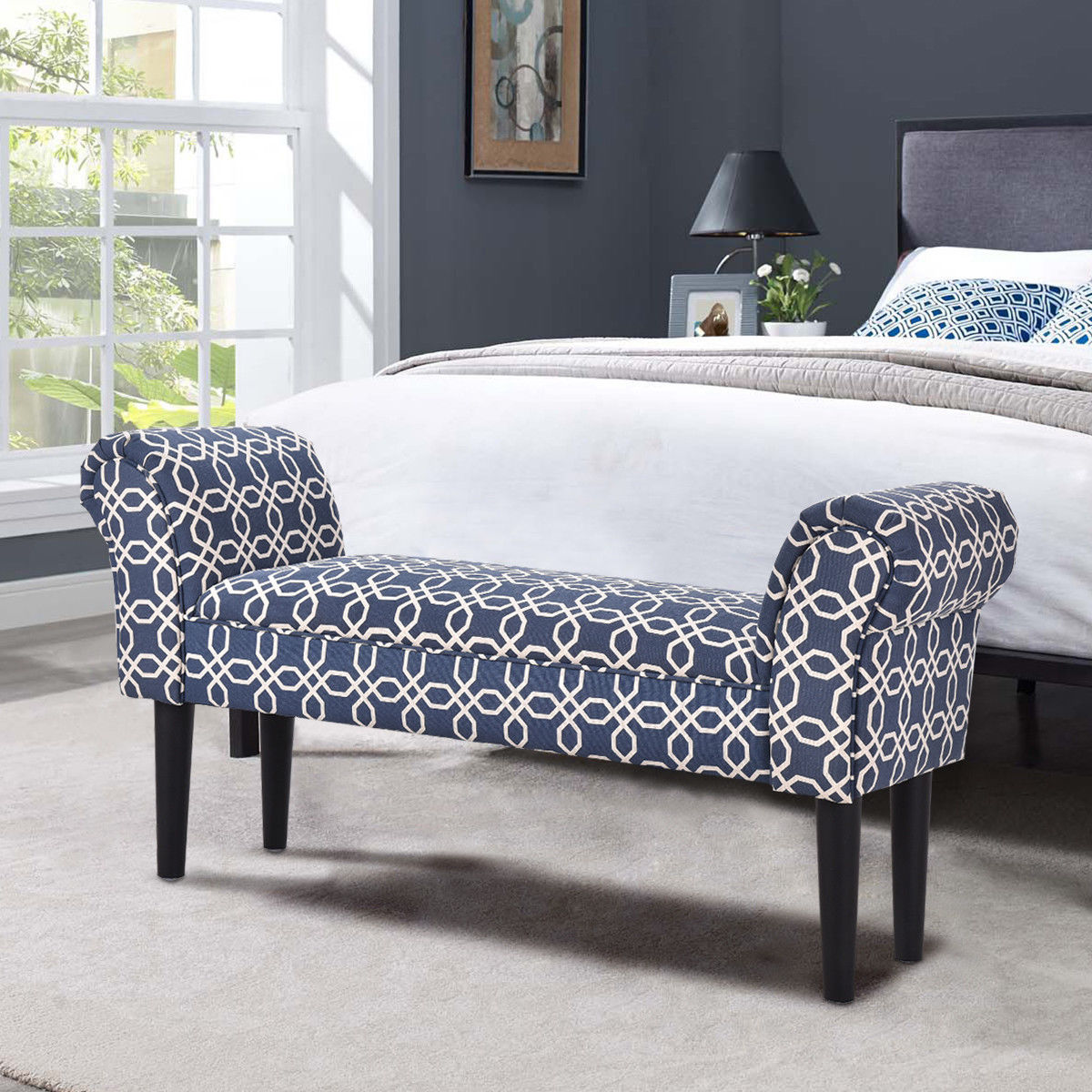 Costway Upholstered Armed Bed Benches For  Entryway, Hallway,Bed End Bench Chair