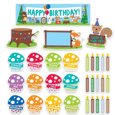 Woodland Friends Happy Birthday Mini Bulletin Board (1758), The seasonal toadstool cupcakes and woodland-themed candles can be displayed atop a cute tree stump decorated with birthday - Cute Classrooms