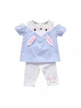 MarinaVida Baby Girls Casual Off-shoulder Striped Animal Print T-shirt Tops+Shorts Suits