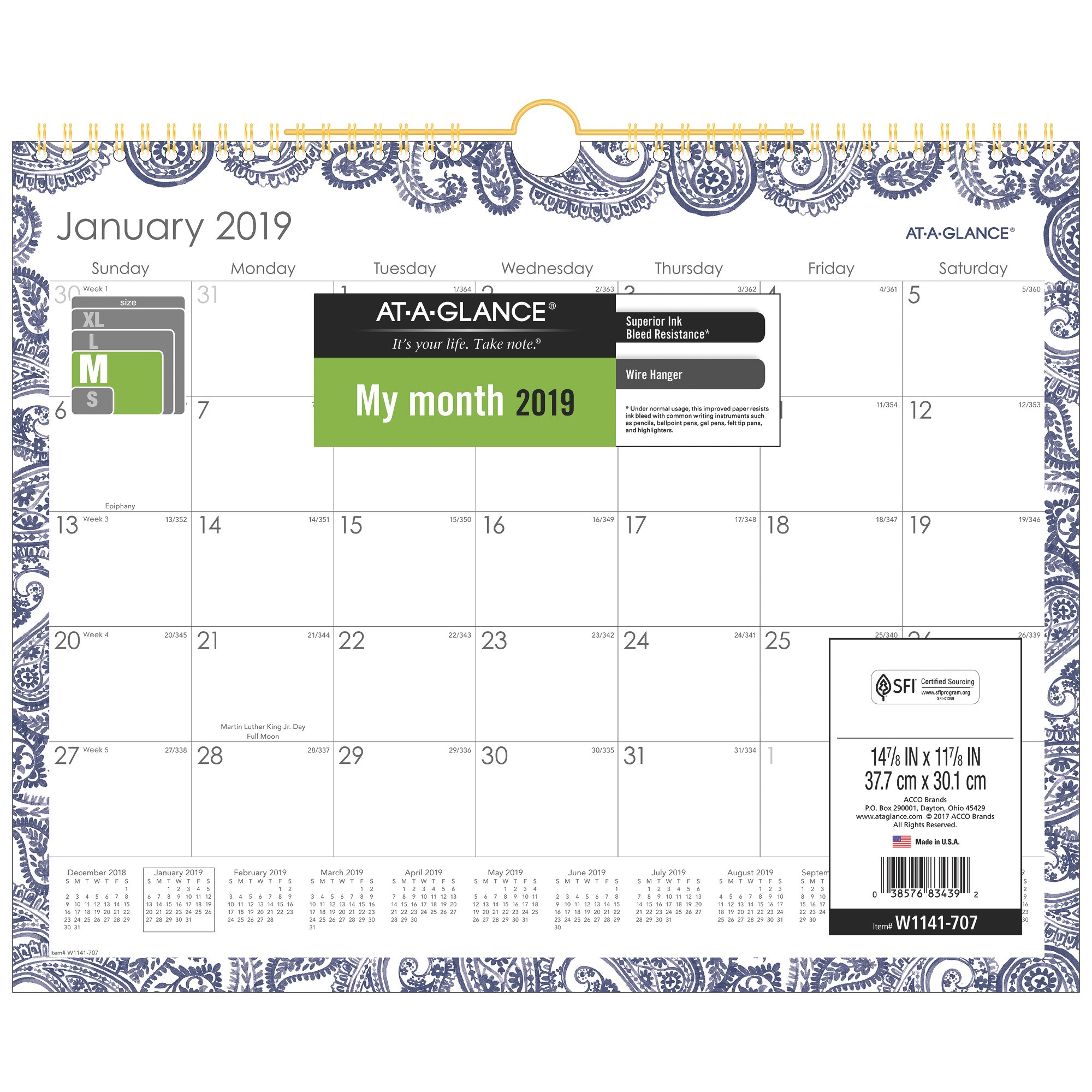 At A Glance Paige Monthly Wall Calendar Wall Calendars