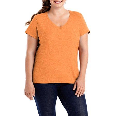 fa16893a274 Hanes - Hanes Women s Plus-Size X-temp Short Sleeve V-neck - Walmart.com