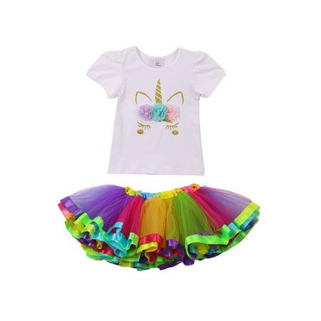 Girls Multi Color Flower Applique Rainbow 2 Pc Tutu Skirt - Flower Squirt