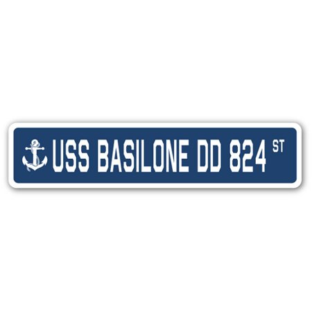 824 Three Light (USS BASILONE DD 824 Street Sign us navy ship veteran sailor gift)