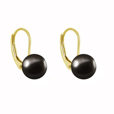 Pearl Earrings Leverback Gold Plated Silver Genuine Button Freshwater Pearls Cultured 8mm Black
