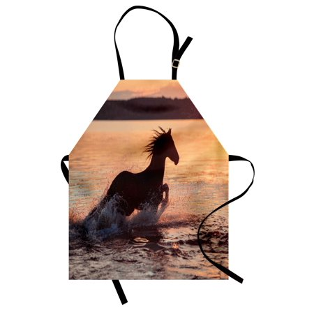 (Equestrian Apron Horse Sea at Sunset Time Horizon Speed Exotic Nature Animal Picture Art, Unisex Kitchen Bib Apron with Adjustable Neck for Cooking Baking Gardening, Salmon Dark Brown, by Ambesonne)