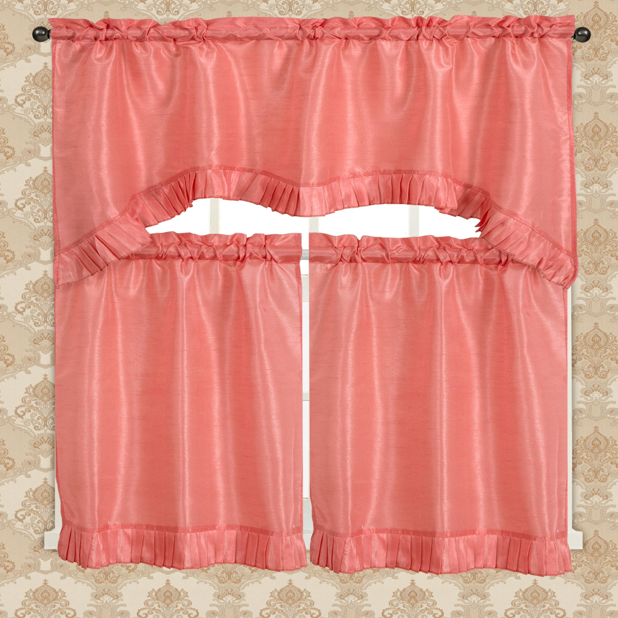 Bermuda Ruffle Kitchen Curtain Tier Set, Coral
