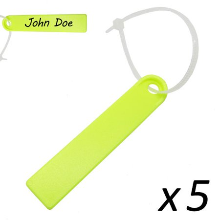 Scuba Diving Surfing Swimming Plastic Waterproof Name Tag 5pc (Yellow)