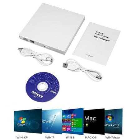Cd Rom Cleaner - External CD Drive, USB 2.0 Portable CD/DVD +/-RW Drive Slim DVD/CD ROM Rewriter Burner Superdrive High Speed Data Transfer for Laptop Desktop PC Windows