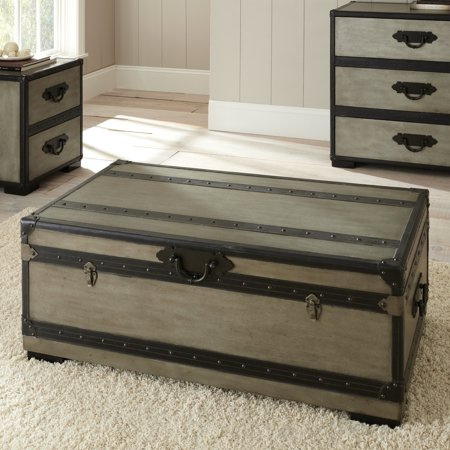Steve silver rowan rectangle weathered gray trunk coffee table Silver trunk coffee table
