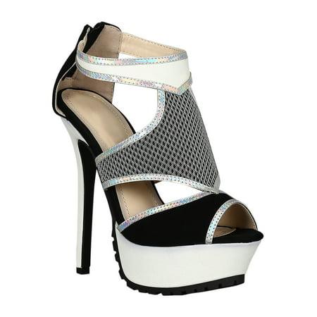 Women Peep Toe Colorblock Mesh Platform Stiletto Heel Sandal 18528