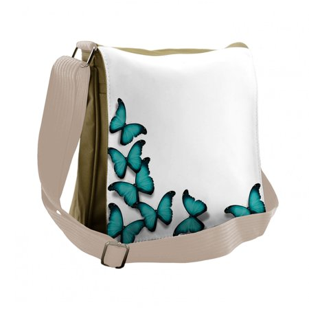 Turquoise Messenger Bag, Sunny Butterflies Morphs, Unisex Cross-body, by Ambesonne