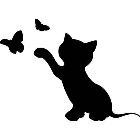 Kitten Playing With Butterflies Vinyl Decal Sticker|Cars Trucks Vans Walls Laptops Cups|Black|5.5 In|KCD865