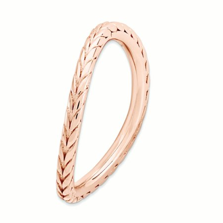 925 Sterling Silver Pink Plated Wave Band Ring Size 9.00 Stackable Curved Fine Jewelry For Women Gifts For Her - image 4 of 7