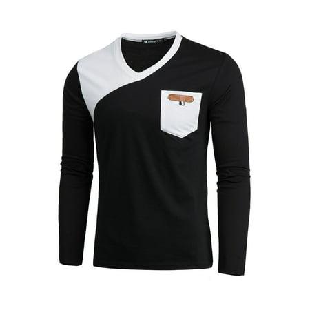 Men Long Sleeves V Neckline Contrast Color T-Shirt](Wet T Shirt Contest Winners)