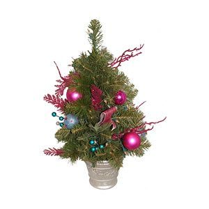 (Northlight Christmas Central ALLSTATE XDY712-FU/AQ 2-ft Pre-Lit Pink Candy Fantasy Decorated Artificial Christmas Tree)