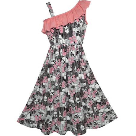Sunny Fashion Girls Dress One Shoulder Flower Party Birthday Size 7 14