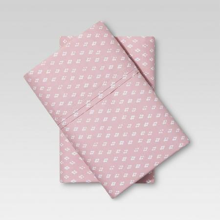 Threshold Organic Cotton Printed Pillowcase Set 300 Thread Count, Pink, King