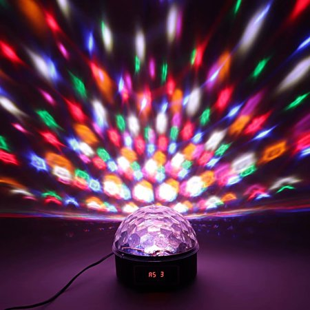 Akoyovwerve 10W RGBW 6LED Moving Head Light DJ XMAS Disco Stage Party Lighting Digital Crystal Orb Black - Light Orbs