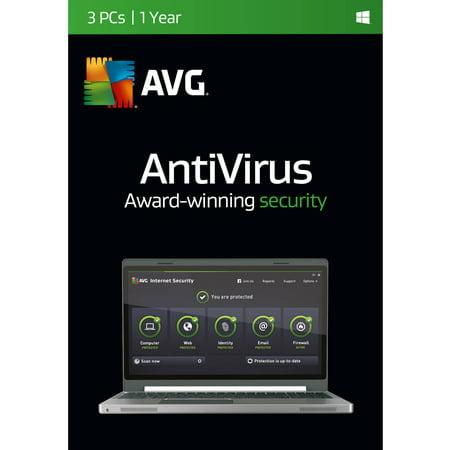Avg Antivirus Software  3 Users 1 Year