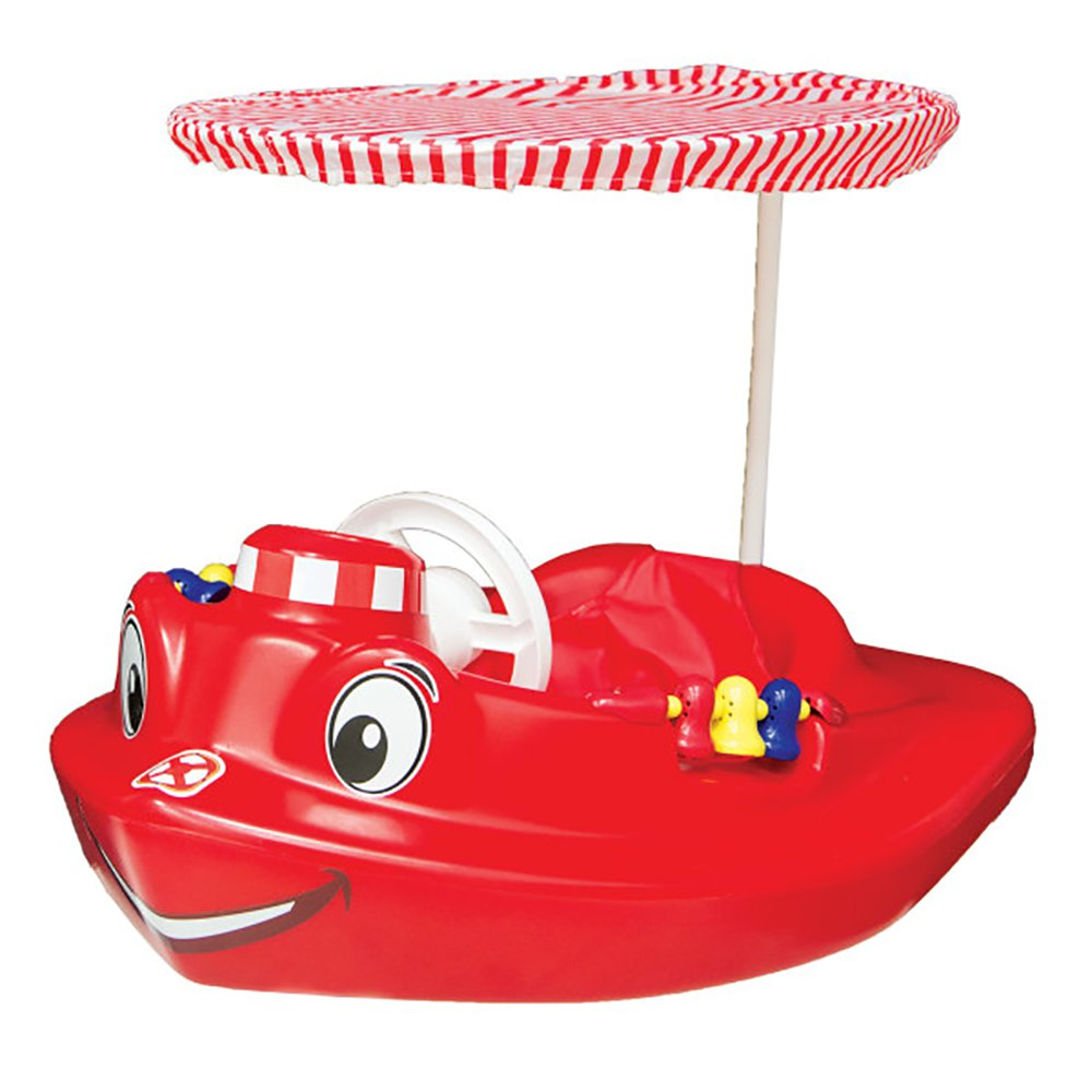 SwimWays Plastic Molded Baby Swimming Pool Tug Boat Float with Toys and Canopy