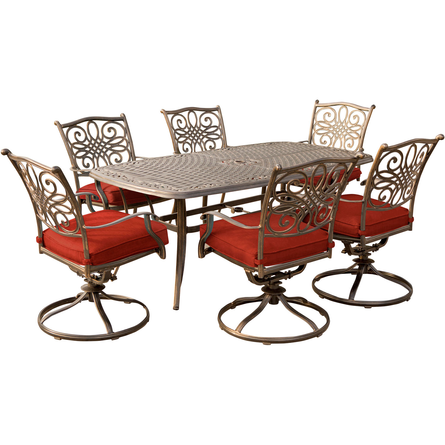 Hanover Traditions 7-Piece Outdoor Dining Set with Cast-Top Table and 6 Swivel Rockers