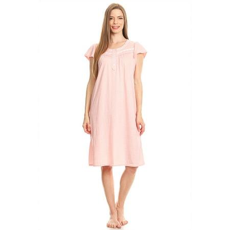 f84df2e62e Lati Fashion - 00123 Womens Nightgown Sleepwear Cotton Pajamas - Woman  Sleeveless Sleep Dress Nightshirt Peach XXXL - Walmart.com