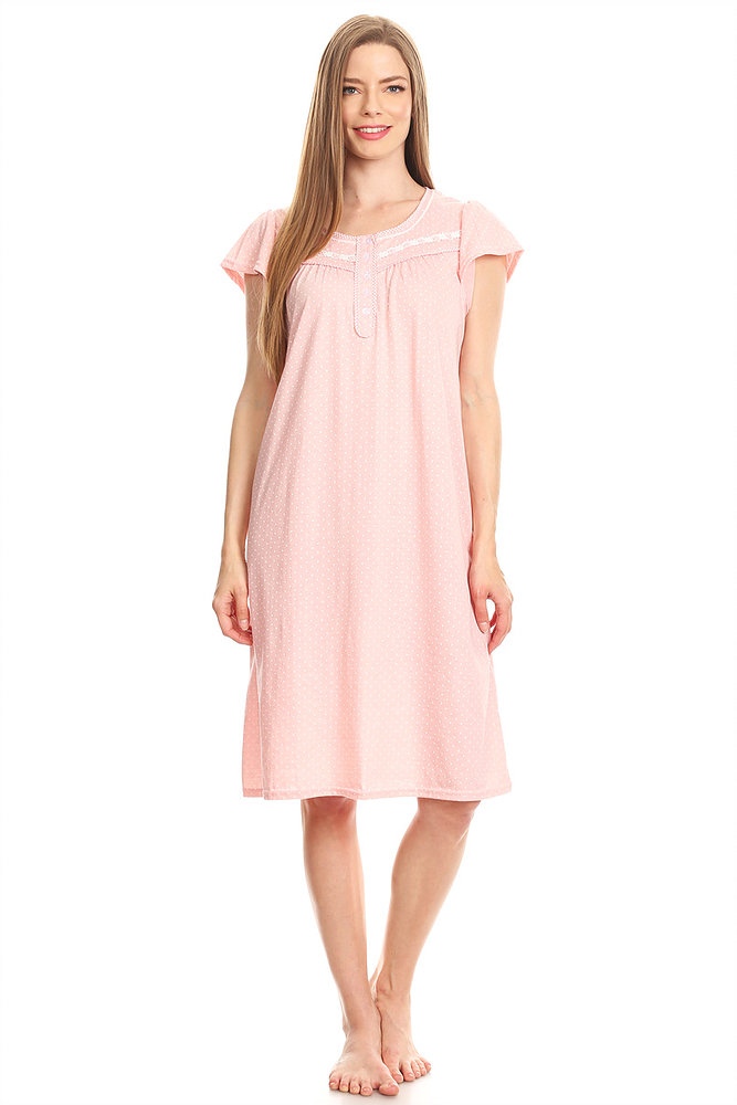 00123 Womens Nightgown Sleepwear Cotton Pajamas - Woman Sleeveless Sleep Dress Nightshirt Blue M