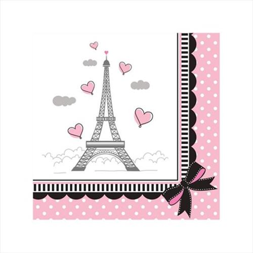 Creative Converting 655584 Party in Paris - Beverage Napkins - Case of 216