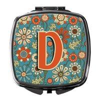 Letter D Flowers Retro Blue Compact Mirror CJ2012-DSCM