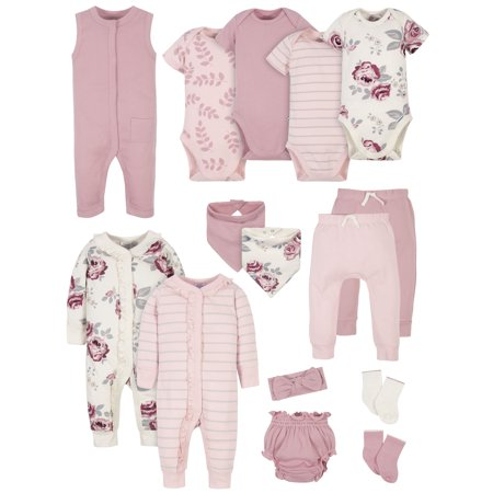 Modern Moments by Gerber Baby Girl Baby Shower Layette Gift Set, 15-Piece