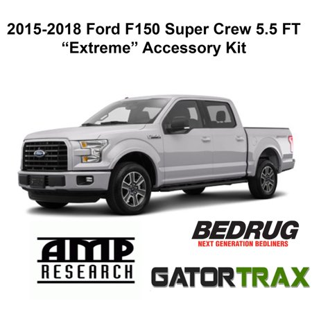 Gator Extreme Accessory Kit Fits 2015 2019 Ford F150 Supercrew 55 Ft Gatortrax Electric Tonneau Cover Amp Power Running Boards Full Bedrug Carpet Bed