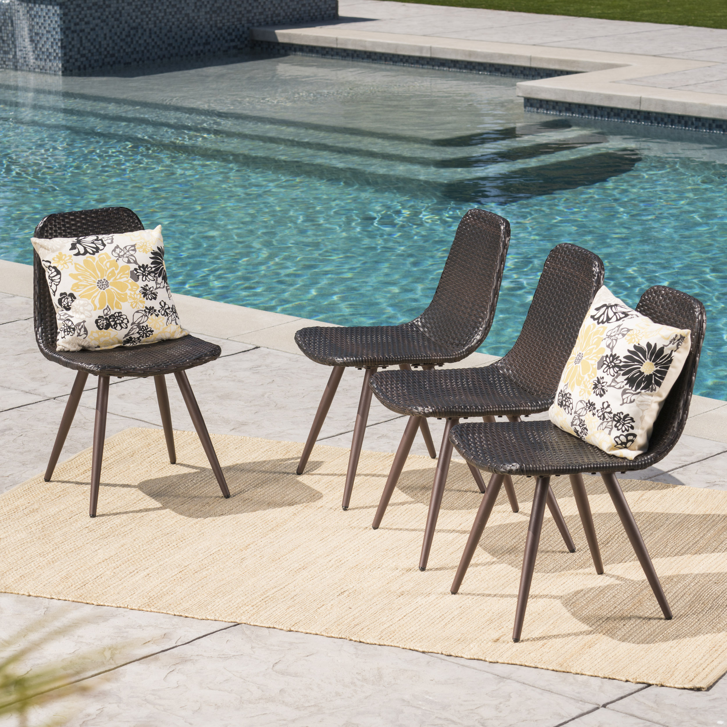 Noble House Grandview Outdoor Wicker Dining Chairs With Dark Brown Powder  Coated Legs, Set Of