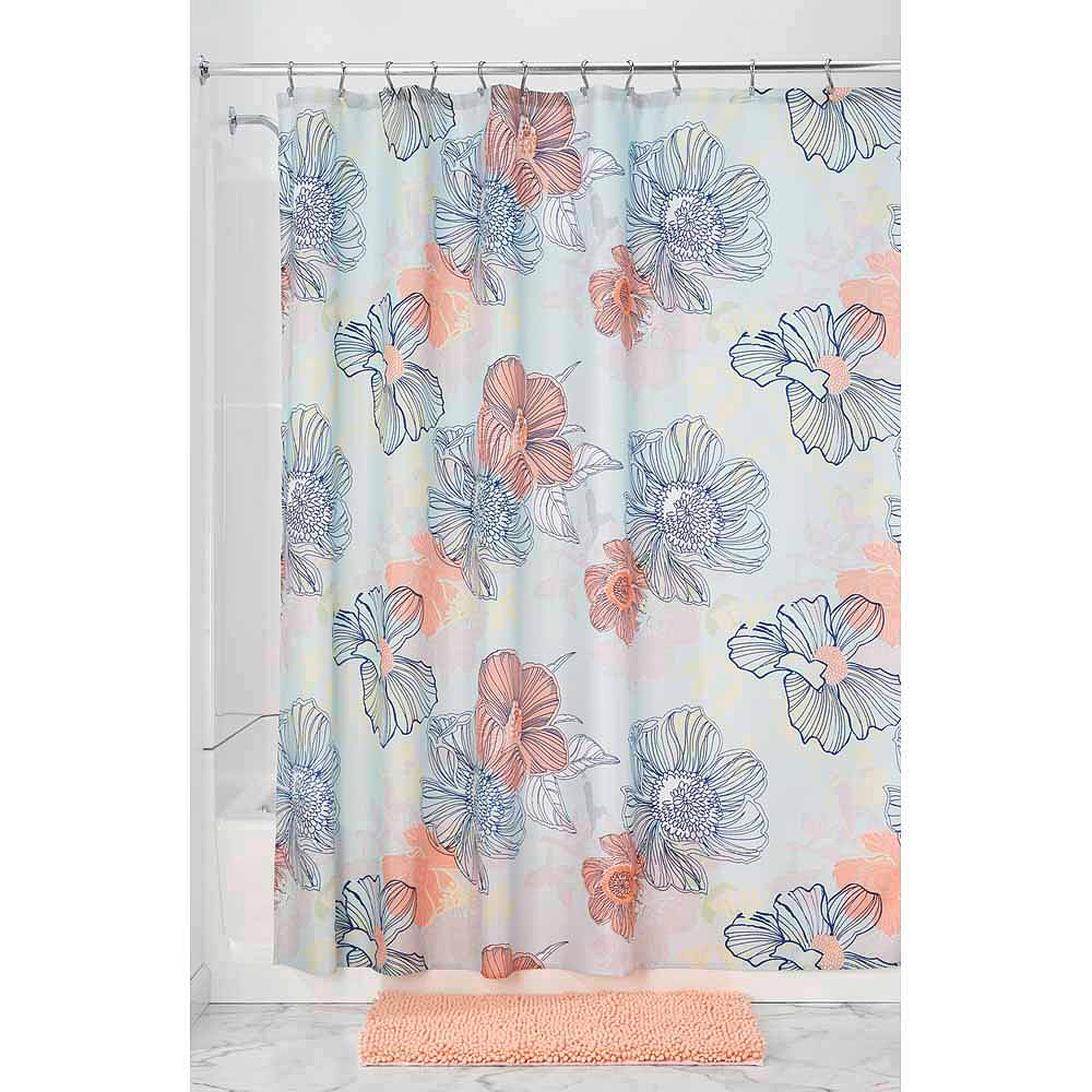 "InterDesign Elsa Fabric Shower Curtain, 72"" x 72"""