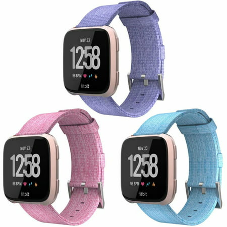 Adepoy Versa Bands Woven Nylon Canvas Breathable Replacement Sport Strap Band Watch Strap Bands for Fitbit Versa 3 PACK