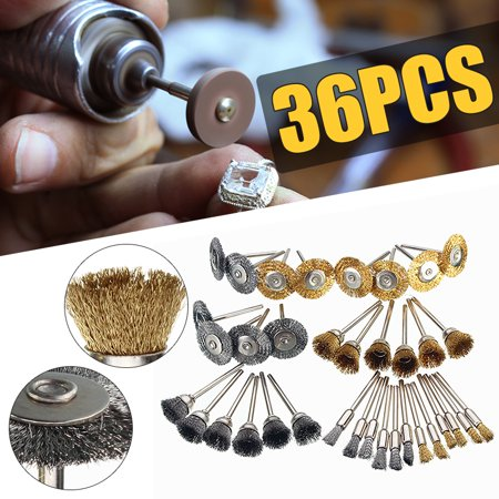 - 36Pcs Brass Steel Wire Brush Polishing Wheels Full kit for Rotary Tools