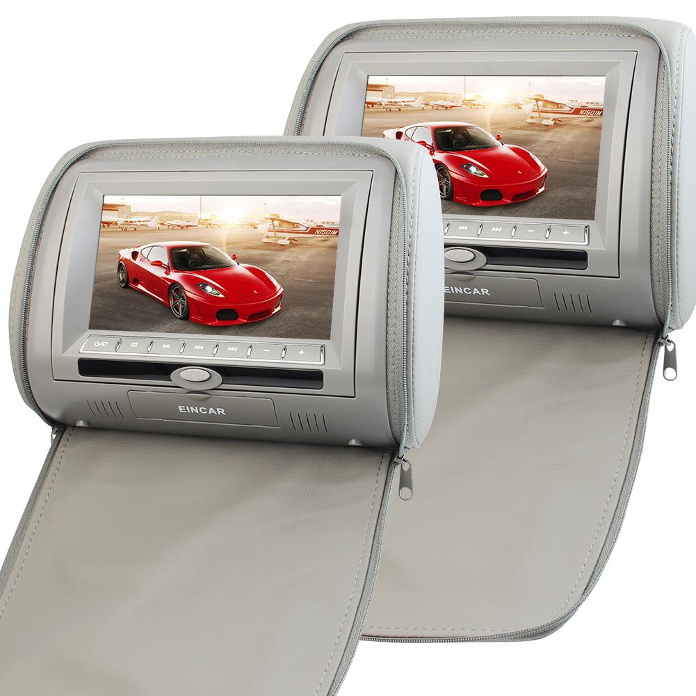 Eincar Headrest 7 inch LCD Car Pillow Monitors with Region Free DVD player Dual Twin Screens Car Seat Headrest USB SD IR FM Transmitter 32 Bit Games+Remote control