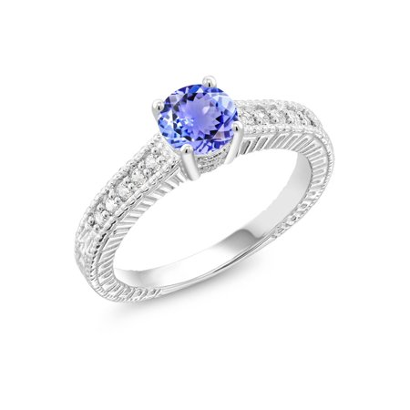 1.05 Ct Round Blue Tanzanite White Created Sapphire 925 Sterling Silver Ring