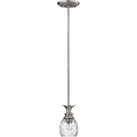 Mini Pendants 1 Light With Polished Antique Nickel Clear Optic Metal Medium Base 5 inch 100 Watts
