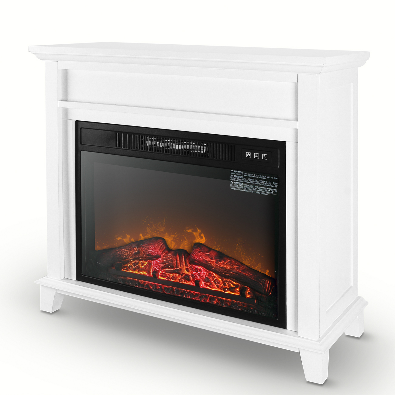 "Della Furniture 28"" Mantel Electric Fireplace Heater with 3 Heat /Flame Settings and Remote Control, White"