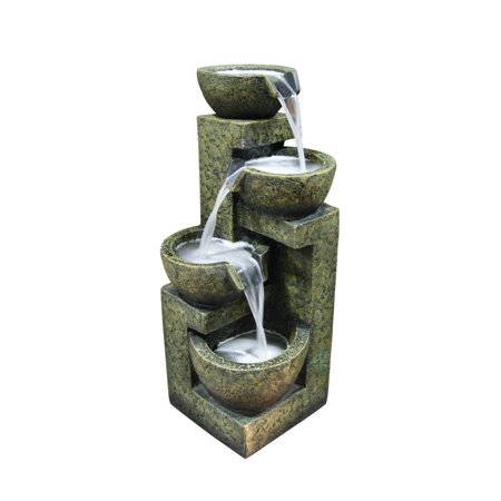 Alpine Cascading Three Tier Stone Bowl Fountain, 24 Inch Tall