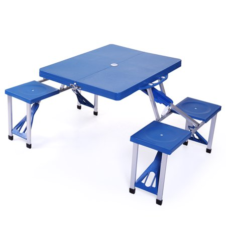 - Jaxpety Folding Compact Table Outdoor Camp Kids Picnic Party Table Set Suitcase Blue